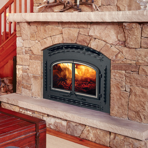 The QuadraFire 7100 is an energy-efficient heating powerhouse. This high-performance fireplace is also wonderfully hassle-free and perfect for everyday use. Relax and savor long burn times, stunning flames and Quadra-Fire quality. Shown in the Valley Forge Front.