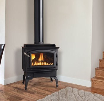 Regency C34 small gas freestanding stove. Shown with black cast iron legs and black door.
