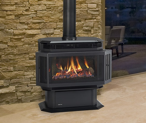 Quadra-Fire Hudson Bay large freestanding gas stove. Show in matte black finish with standard safety screen.
