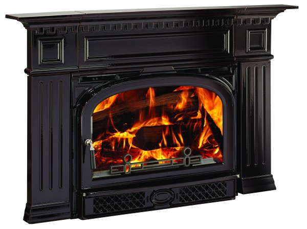 VC Montpelier Wood Burning Insert with Georgian Surround with Fire Majolica Brown
