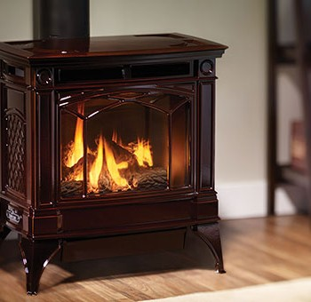 Hampton H35 large gas freestanding stove. Shown with enamel timberline brown finish.