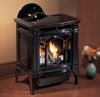 Hampton H15 small gas freestanding stove. Shown with enamel timberline brown finish.