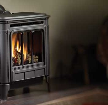 Hampton H27 medium gas freestanding stove. Shown with charcoal gray finish.